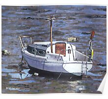 old boat on river mudflats 1 Poster