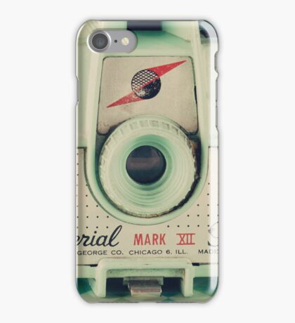 Retro - Vintage Mint Camera on Pattern Background  iPhone Case/Skin