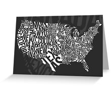 United States of Typography: Black Greeting Card