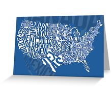 United States of Typography: Blue Greeting Card