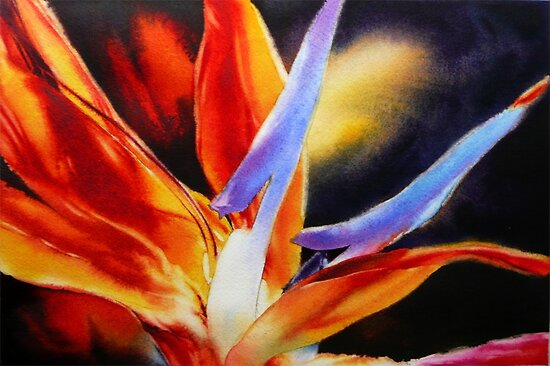 Petal Light - Bird of Paradise Painting in Watercolor by Arena Shawn
