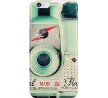 Retro - Vintage Mint Camera on Beige Pattern Background  iPhone Case/Skin