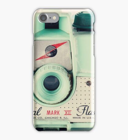 Retro - Vintage Mint Camera on Beige Pattern Background  iPhone Case/Skin