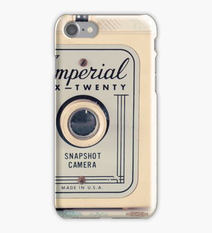 Retro - Vintage Pastel Camera on Cream Pattern Background  iPhone Case/Skin