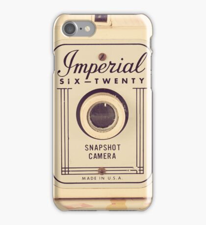 Retro - Vintage Pastel Camera on Girly Pattern Background  iPhone Case/Skin