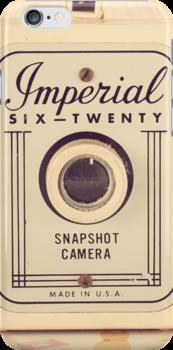 Retro - Vintage Pastel Camera on Girly Pattern Background  by Andreka