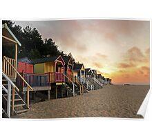 Wells Beach huts Poster