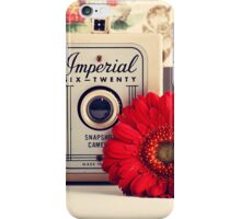 Retro - Vintage Pastel Camera and Red Flowe on a Kitsh Background  iPhone Case/Skin