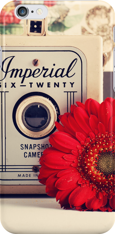Retro - Vintage Pastel Camera and Red Flowe on a Kitsh Background  by Andreka