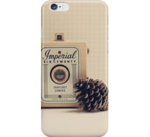 Retro - Vintage Autumn Camera and a Pine Cone on Beige Pattern Background  iPhone Case/Skin
