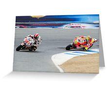 Marco Simoncelli and Valentino Rossi at laguna seca 2011 Greeting Card