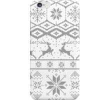 Gray Christmas knitted Pattern iPhone Case/Skin