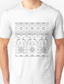 Gray Christmas knitted Pattern T-Shirt