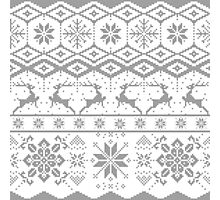 Gray Christmas knitted Pattern Photographic Print