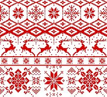 Red christmas knitter sweater pattern by artonwear