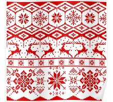 Red christmas knitter sweater pattern Poster