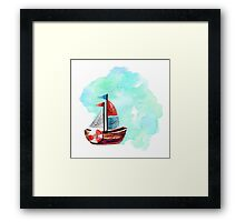 Ship in the Watercolor Framed Print