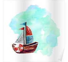 Ship in the Watercolor Poster
