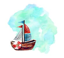 Ship in the Watercolor Photographic Print