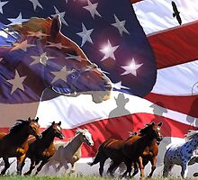 The Spirit of Freedom - Horses and Eagles running free by Rick Short