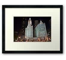 Chicago's Wrigley Building at Night Framed Print