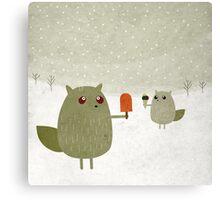 Squirrel with ice cream Canvas Print