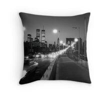Manhattan from Brooklyn Bridge 1980s Throw Pillow