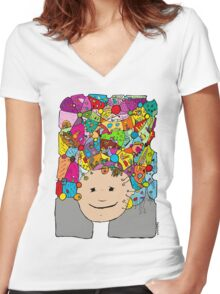 all the world in my head Women's Fitted V-Neck T-Shirt