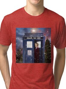 Christmas style 12th Doctor and TARDIS Tri-blend T-Shirt
