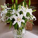 Vase with white lilies by bubblehex08