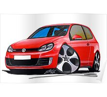 VW Golf GTi (Mk6) Red Poster