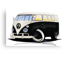 VW Splitty (11 Window) Black Canvas Print
