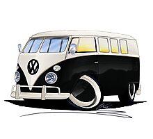 VW Splitty (11 Window) Black Photographic Print