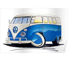 VW Splitty (11 Window) Blue Poster