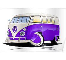 VW Splitty (11 Window) Purple Poster