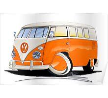 VW Splitty (11 Window) Orange Poster
