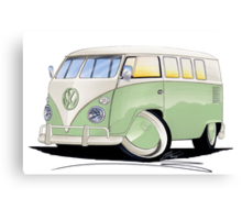 VW Splitty (11 Window) Pale Green Canvas Print