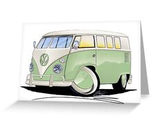 VW Splitty (11 Window) Pale Green Greeting Card