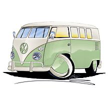 VW Splitty (11 Window) Pale Green Photographic Print
