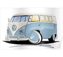 VW Splitty (11 Window) Pale Blue Poster