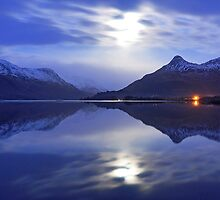 Loch Leven and the Pap of Glencoe on an icy night..... by Jacky Cooper