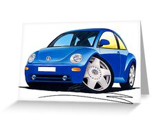 VW New Beetle Blue Greeting Card