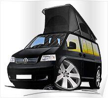 VW T5 California Camper Van Black Poster