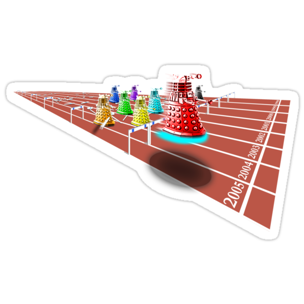 Dalek 100m Hurdles - Comic T Shirt by BlueShift