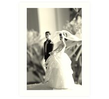 The Groom Stands Humbly in the Background Art Print