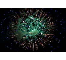 Green and Gold Firework Photographic Print