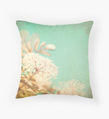 White little flowers on blue textured sky  Throw Pillow