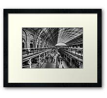 London St Pancras Station BW Framed Print