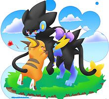 Luxray and Raichu by Shikuroshi