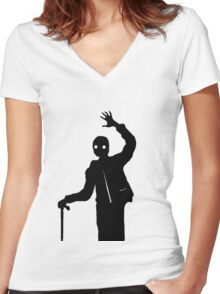 Man Waving Women's Fitted V-Neck T-Shirt